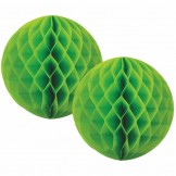 Lime Green Honeycomb Ball 15cm set of 2