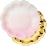 Pink Ombre and Gold Party Plates