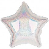 Silver Holographic Star Foil Balloon 50cm