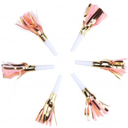 Pink and Gold Tassel Party Blowers
