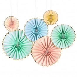 Pastel Pinwheel Party Fans Set